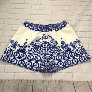 Blue and white print shorts